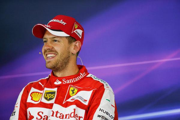 Red Bull Ring, Spielberg, Austria. Saturday 20 June 2015. Sebastian Vettel, Ferrari, in the post qualifying Press Conference. World Copyright: Glenn Dunbar/LAT Photographic. ref: Digital Image _89P4018