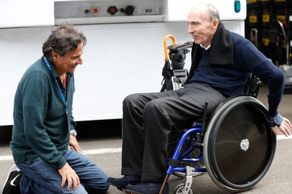 Red Bull Ring, Spielberg, Austria. Thursday 18 June 2015. Sir Frank Williams, Team Principal, Williams F1, talks to Nelson Piquet. World Copyright: Alastair Staley/LAT Photographic. ref: Digital Image _R6T6845