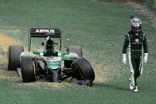 Race retiree Kamui Kobayashi (JPN) Caterham CT05 crashes out of the start at the race. Formula One World Championship, Rd1, Australian Grand Prix, Race, Albert Park, Melbourne, Australia, Sunday 16 March 2014. BEST IMAGE