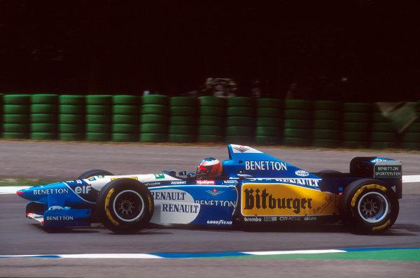 Hockenheim, Germany.28-30 July 1995.Michael Schumacher (Benetton B195 Renault) 1st position.Ref-95 GER 12.World Copyright - LAT Photographic