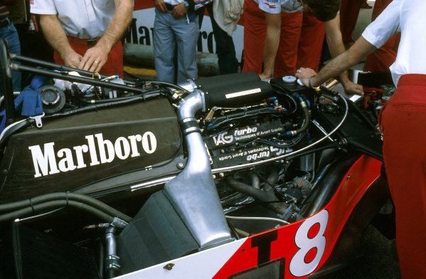 Zandvoort, Holland.26-28 August 1983.McLaren tried its new TAG Porsche P01 twin turbo V6 for the first time in the back of Lauda's interim MP4/1E chassis.Ref-83 HOL 22.World Copyright - LAT Photographic