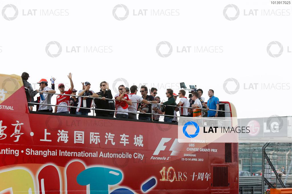 Shanghai International Circuit, Shanghai, China Sunday 14th April 2013 The drivers parade. World Copyright: Charles Coates/LAT Photographic ref: Digital Image _N7T5691
