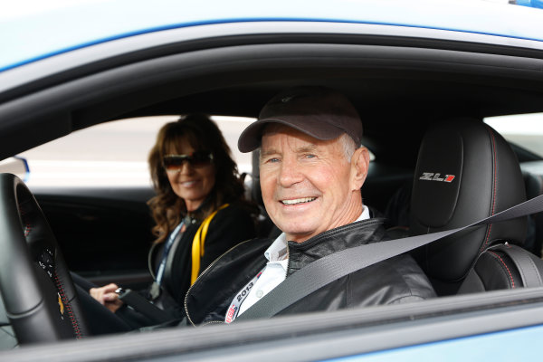 25  May, 2013, Indianapolis, Indiana, USA Sarah Palin gets a pace car ride from 1963 Indy 500 winner Parnelli Jones © 2013, Michael L. Levitt LAT Photo USA
