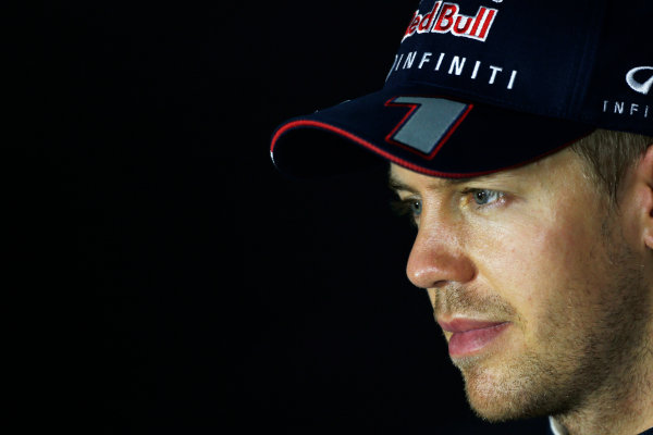 Marina Bay Circuit, Singapore. Saturday 21st September 2013.  Sebastian Vettel, Red Bull Racing, in the press conference after qualifying.  World Copyright: Charles Coates/LAT Photographic. ref: Digital Image _N7T5435