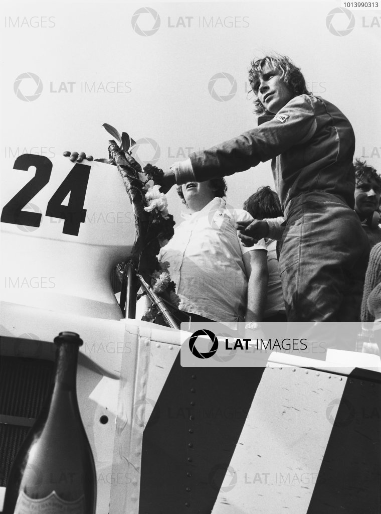 Silverstone, England. 7th April 1974.  James Hunt (Hesketh 308-Ford), 1st position, on the drivers parade, portrait.  World Copyright: LAT Photographic.  Ref:  B/W Print.