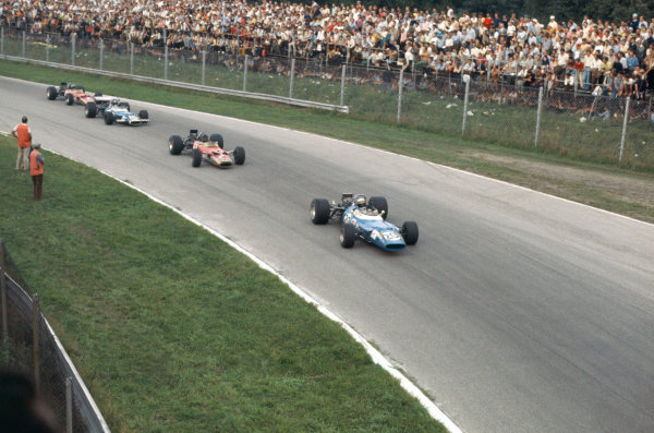 1969 Italian Grand Prix.  Monza, Italy. 5-7th September 1969.  Jackie Stewart, Matra MS80 Ford, leads Graham Hill, Lotus 49B Ford, Jean-Pierre Beltoise, Matra MS80 Ford, and Jochen Rindt, Lotus 49B Ford, into Parabolica.  Ref: 69ITA06. World Copyright: LAT Photographic