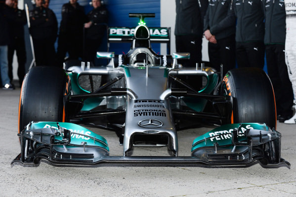 Mercedes AMG W05 nose and front wing detail.Formula One Testing Day One, Jerez, Spain, Tuesday 28 January 2014.
