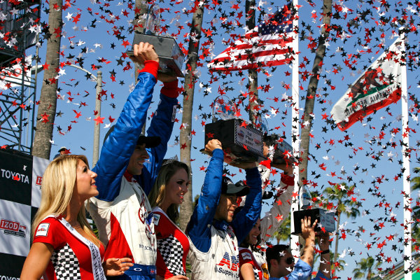 19-21 April 2013, Long Beach, California USA Justin Wilson, Takuma Sato, Race Winners.(c)2013, Todd Davis LAT Photo USA
