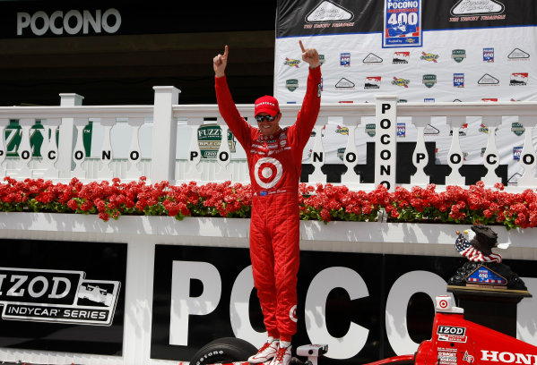 4-7 July, 2013,  Pocono, Pennsylvania, USA Scott Dixon celebrates in victory lane ©2013, Phillip Abbott LAT Photo USA