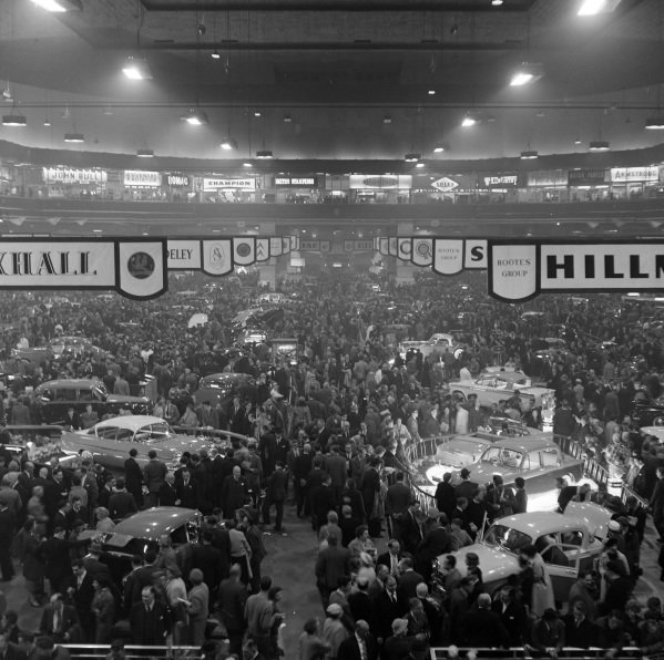 View over the show hall including the Rootes and Vauxhall stands.
