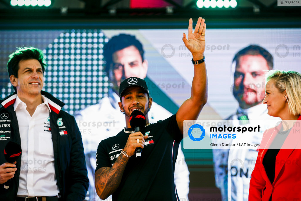 Toto Wolff, Executive Director (Business), Mercedes AMG and Lewis Hamilton, Mercedes AMG F1. on stage at the Federation Square event