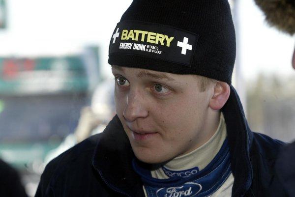 2003 FIA World Rally Championship. Karlstad, Sweden. Rd2.6-9 February 2003.Mikko Hirvonen (Ford) 11th position. World Copyright: McKlein/LAT Photographic