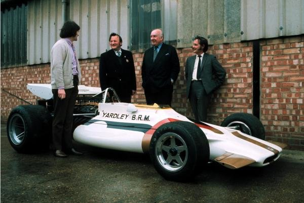 Launch of the Yardley sponsored BRM P160 at the BRM Factory in Bourne, Lincs.Far left designer Tony Southgate(GBR) and 2nd right Team Principal Louis Stanley(GBR)1971