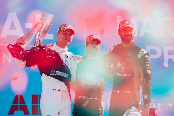 Race winner Antonio Felix da Costa (PRT), DS Techeetah on the podium with Maximilian Günther (DEU), BMW I Andretti Motorsports, 2nd position, and Jean-Eric Vergne (FRA), DS Techeetah, 3rd position
