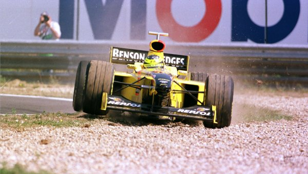 1998 Hungarian Grand Prix.Hungaroring, Budapest, Hungary.14-16 August 1998.Ralf Schumacher (Jordan 198 Mugen Honda) ploughs through the gravel during practice.World Copyright - Steve Etherington/LAT Photographic