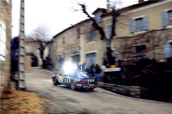 2003 Racing Past. . Exhibition1995 Monte Carlo Rally, Monaco. Colin McRae drives through a village in his Subaru Impreza 555.World Copyright - LAT PhotographicExhibition ref: a099