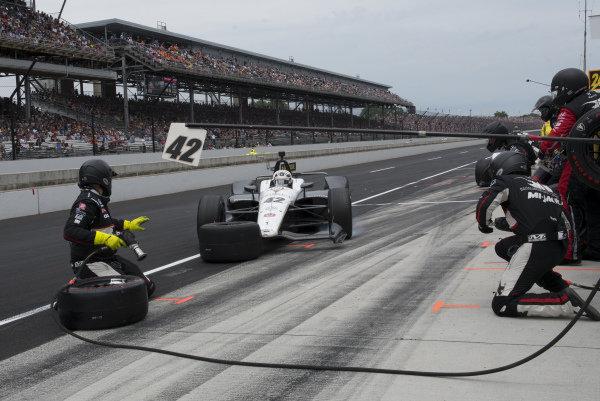 Jordan King, Rahal Letterman Lanigan Racing Honda, slides into pit during race