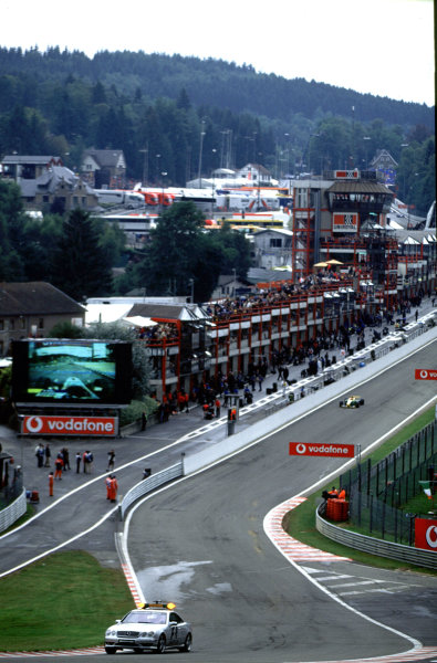 2001 F3000 ChampionshipSpa-Francorchamps, Belgium. 1st September 2001.The safety car is deployed after Mark Webber crashes out of the race.World Copyright: Lorenzo Bellanca/LAT Photographicref: 35mm Image A15