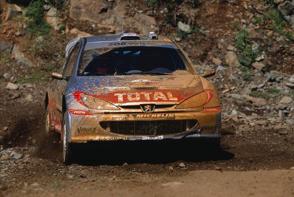 World Rally ChampionshipCyprus Rally, Cyprus. 18th - 21st April 2002. Richard Burns / Robert Reid, Peugeot 206 WRC, 2nd positioon overall.World Copyright: McKlein/LAT Photographicref: 35mm Image A16