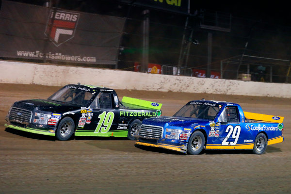 NASCAR Camping World Truck Series Eldora Dirt Derby Eldora Speedway, Rossburg, OH USA Wednesday 19 July 2017 Austin Cindric, Fitzgerald Glider Kits Ford F150 and Chase Briscoe, Cooper Standard Ford F150 World Copyright: Russell LaBounty LAT Images