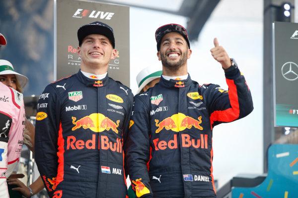 London, United Kingdom.  Wednesday 12 July 2017. Max Verstappen, Red Bull, and Daniel Ricciardo, Red Bull Racing. World Copyright: Joe Portlock/LAT Images  ref: Digital Image _L5R8741