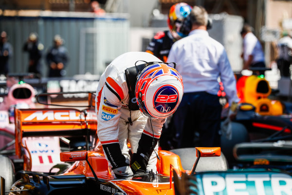 Monte Carlo, Monaco. Saturday 27 May 2017. Jenson Button, McLaren, in Parc Ferme after Qualifying. World Copyright: Glenn Dunbar/LAT Images ref: Digital Image _X4I9282