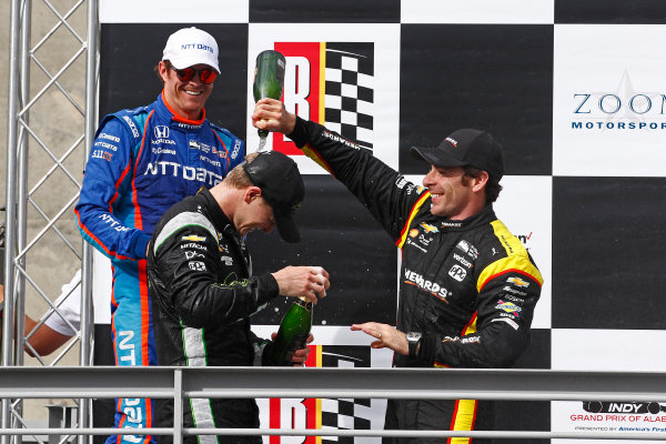 2017 Verizon IndyCar Series Honda Indy Grand Prix of Alabama Barber Motorsports Park, Birmingham, AL USA Sunday 23 April 2017 Josef Newgarden, Team Penske Chevrolet, Scott Dixon, Chip Ganassi Racing Teams Honda, Simon Pagenaud, Team Penske Chevrolet celebrate with champagne on podium World Copyright: Phillip Abbott LAT Images ref: Digital Image abbott_barber_0417_6653