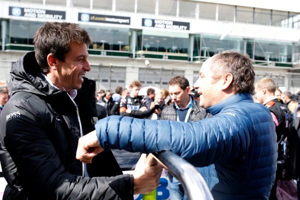 2017 DTM Round 7  Nürburgring, Germany  Saturday 9 September 2017. Toto Wolff, Executive Director, Mercedes AMG and Gerhard Berger, ITR Chairman  World Copyright: Alexander Trienitz/LAT Images ref: Digital Image 2017-DTM-Nrbg-AT1-1210