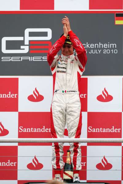 Race winner Esteban Gutierrez (MEX) ART Grand Prix celebrates on the podium. GP3 Series, Rd 5, Race 2, Hockenheim, Germany, Sunday 25 July 2010.