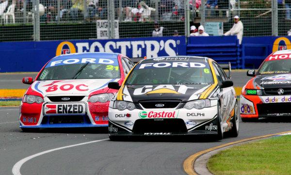 2005 Australian V8 SupercarsAlbert Park, Melbourne, Australia. 4th - 6th March.Jason Bright leads Brad Jones in race 3. Action. World Copyright: Mark Horsburgh/LAT Photographicref: Digital Image Only