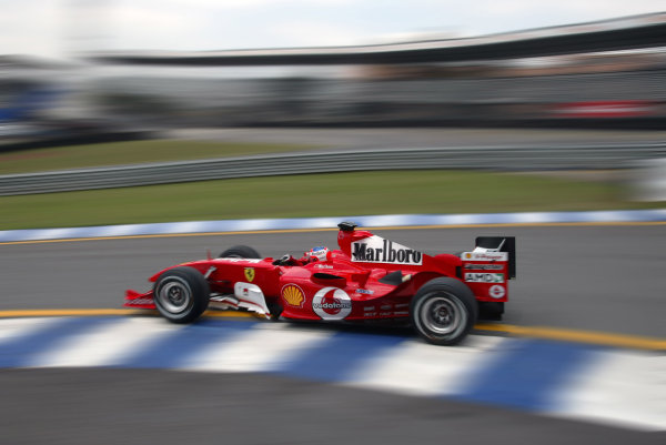 2004 Brazilian Grand Prix - Friday Practice,Interlagos, Sao Paulo, Brazil. 22nd October 2004 Rubens Barrichello, Ferrari F2004, action.World Copyright: Steve EtheringtonLAT Photographic ref: Digital Image Only