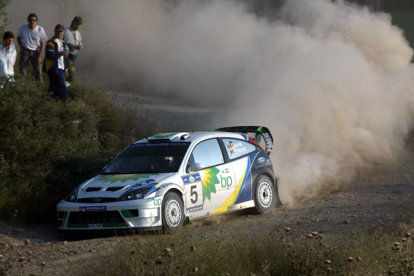 Francois Duval in action in the Ford Focus WRC03, Acropolis Rally 2003.Photo: McKlein/LAT