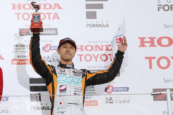 2016 Japanese Super Formula. Suzuka, Japan. 29th - 30th October 2016. Rd 7. Race 2 - 3rd position Hiroaki Ishiura ( #1 P.MU/CERUMO ? INGING SF14 ) podium, portrait. World Copyright : Yasushi Ishihara / LAT Photographic. Ref : 2016SF_Rd7_SUZUKA_029