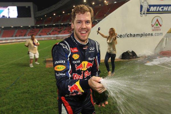 Rajamangala Stadium, Bangkok, Thailand 13th - 16th December 2012 Sebastian Vettel revels in Team Germany's ROC Nati World Copyright: IMP (USAGE FREE FOR EDITORIAL PURPOSES ONLY)