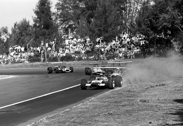 Sixth placed Jo Siffert (SUI) took pole position in the Rob Walker Lotus 49B and led the race until a stop to repair a broken throttle linkage cost him two laps and dropped him to the back of the field.  Mexican Grand Prix, Mexico City, 3 November 1968
