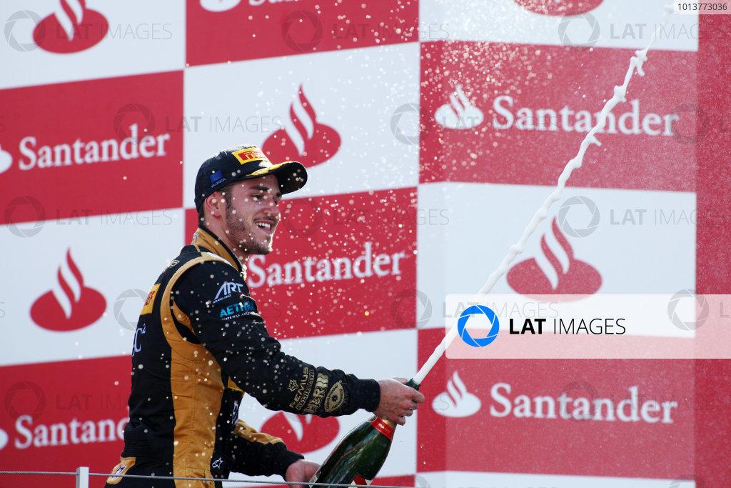 2012 GP3 Series, Round 3.Valencia, Spain. 24th June 2012. Sunday Race 2. Daniel Abt (GER, Lotus GP) celebrates on the podium. Portrait. World Copyright:  Daniel Kalisz/LAT Photographic Ref: Digital Image IMG_2156