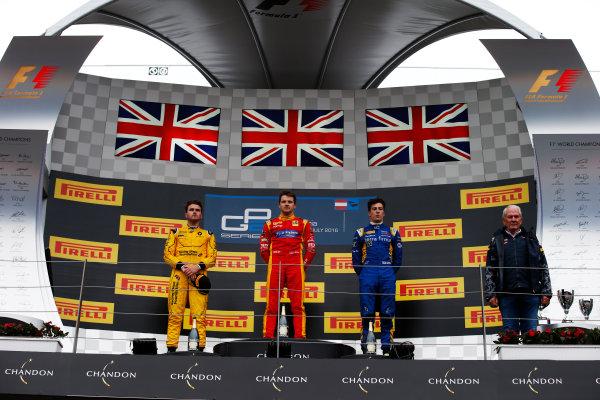 Jordan King (GBR, Racing Engineering Oliver Rowland (GBR, MP Motorsport) Alex Lynn, (GBR, DAMS) on the podium after the second GP2 race. 2016 GP2 Series Round 4 Red Bull Ring, Spielberg, Austria. Sunday 3 July 2016.  Photo: Sam Bloxham/GP2 Series Media Service. ref: Digital Image _SLA9916