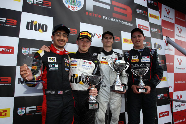 2016 BRDC British Formula 3 Championship, Brands Hatch, Kent. 16th - 17th April 2016. Race 3 Podium (l-r) Quinlan Lall (USA) Chris Dittmann Racing BRDC F3, Ricky Collard (GBR) Carlin BRDC F3, Colton Herta (USA) Carlin BRDC F3, Thomas Randle (AUS) Douglas Motorsport BRDC F3. World Copyright: Ebrey / LAT Photographic.