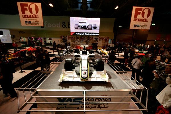 NEC, Birmingham. 16th January 2010.Jenson Button's Brawn GP BGP001 at the F1 Racing stand.World Copyright: Drew Gibson/LAT Photographicref: Digital Image _Y8P5202
