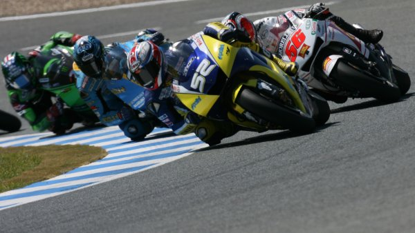 2008 Moto GP ChampionshipJerez, Spain. 28th - 30th March 2008.James Toseland Tech 3 Yamaha leads Shinya Nakano Chris Vermeulen and John Hopkins on lap 2 in the battle for 6th place.World Copyright: Martin Heath/LAT Photographicref: Digital Image Only