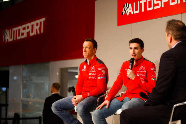 Autosport International Exhibition. National Exhibition Centre, Birmingham, UK. Friday 12th January 2018. Kris Meeke and Craig Breen of Citroen talk to Henry Hope-Frost on the Autosport Stage. World Copyright: Joe Portlock/LAT Images Ref: _U9I0454