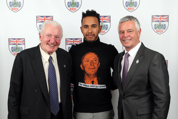 2017 British Racing Drivers Club Awards. London Hilton Hotel, Park Lane, London. Monday 4th December 2017. Paddy Hopkirk, Lewis Hamilton and Derek Warwick World Copyright: Jakob Ebrey / LAT Images. Ref: HopkirkHamiltonWarwick