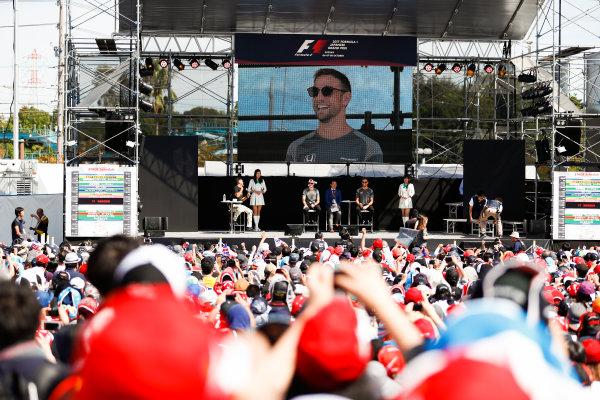 Suzuka Circuit, Japan. Sunday 08 October 2017. Stoffel Vandoorne, McLaren, and Jenson Button, McLaren, on the F1 stage. World Copyright: Glenn Dunbar/LAT Images  ref: Digital Image _X4I7508