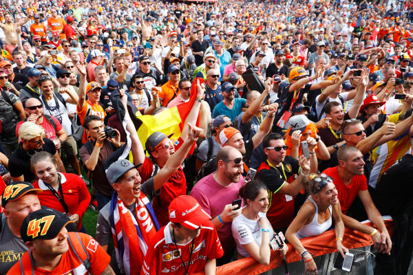 Spa Francorchamps, Belgium.  Saturday 26 August 2017. Fans gather around the stage in the F1 Fanzone. World Copyright: Steven Tee/LAT Images  ref: Digital Image _R3I0395