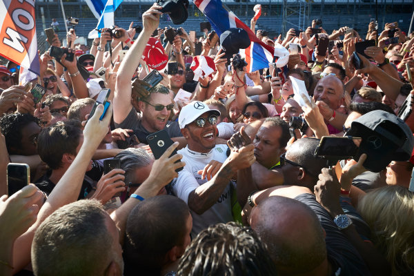 Autodromo Nazionale di Monza, Italy. Sunday 3 September 2017. Lewis Hamilton, Mercedes AMG, gets mobbed by fans. World Copyright: Steve Etherington/LAT Images  ref: Digital Image SNE15579