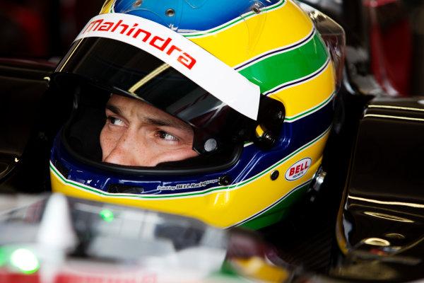 FIA Formula E Test Day, Donington Park, UK.  3rd - 4th July 2014.  Bruno Senna, Mahindra Racing. Photo: Malcolm Griffiths/FIA Formula E ref: Digital Image A50A2869