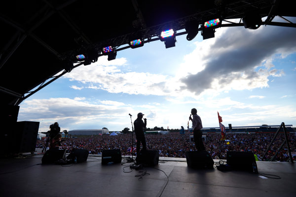 Silverstone, Northamptonshire, England. Sunday 6 July 2014. Lewis Hamilton, Mercedes AMG, on the stage. World Copyright: Steve Etherington/LAT Photographic. ref: Digital Image SNE19968