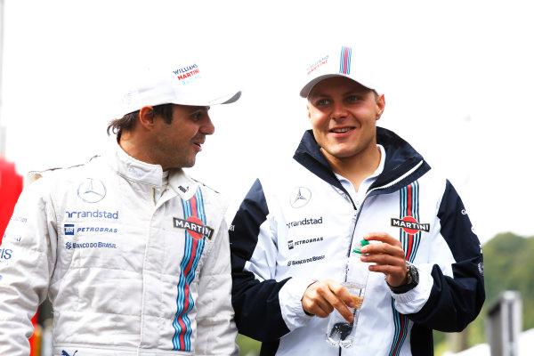 Spa-Francorchamps, Spa, Belgium. Friday 22 August 2014. Felipe Massa, Williams F1, with Valtteri Bottas, Williams F1. World Copyright: Charles Coates/LAT Photographic. ref: Digital Image _J5R9172