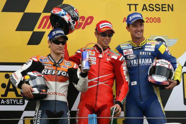 TT Circuit Assen, Netherlands. 28th June 2008.MotoGP Race.MotoGP Podium Casey Stoner Dani Pedrosa and Colin Edwards.World Copyright: Martin Heath / LAT Photographicref: Digital Image Only