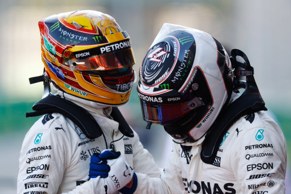 Baku City Circuit, Baku, Azerbaijan. Saturday 24 June 2017. Pole position winner Lewis Hamilton, Mercedes AMG, greets Valtteri Bottas, Mercedes AMG, after qualifying. World Copyright: Steven Tee/LAT Images ref: Digital Image _O3I2367